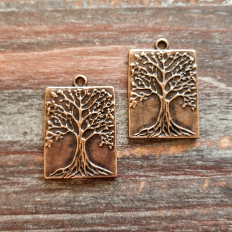 AB-8002 - Antique Copper Rectangle Tree Of Life Pendant, 22x32mm | Pkg 2