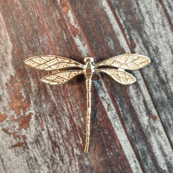 AB-8010 - Gold Plated Elegant Dragonfly Pendant, 46x38mm | Pkg 1