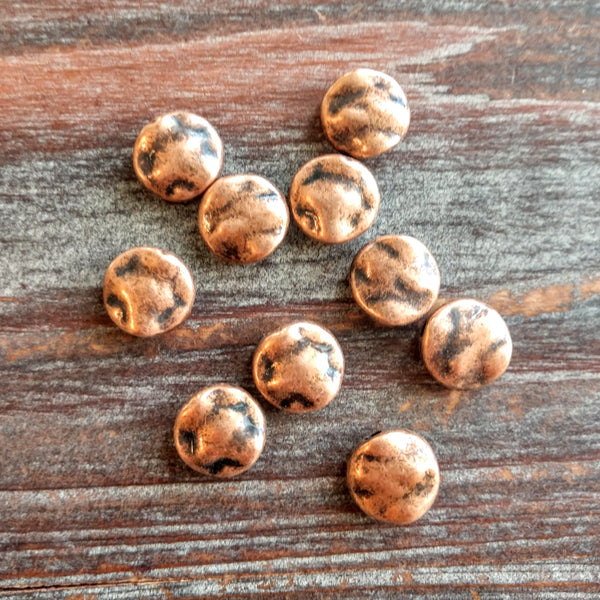 AB-8019 - Antique Copper Hammered Disc Beads, 4x10mm | Pkg 10
