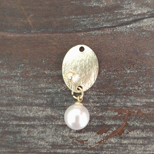AB-8030 - Brushed Gold Oval Pendant With Glass Pearl, 14x35mm | Pkg 1