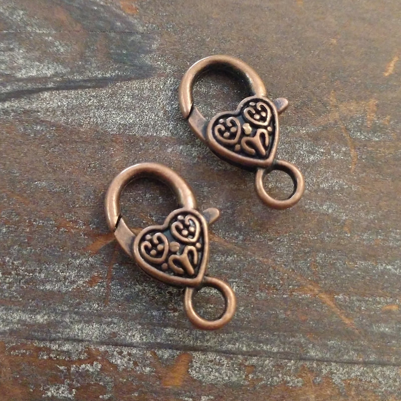 CL-23581 - Antique Copper Heart Lobster Clasp, 13x26mm | Pkg 2