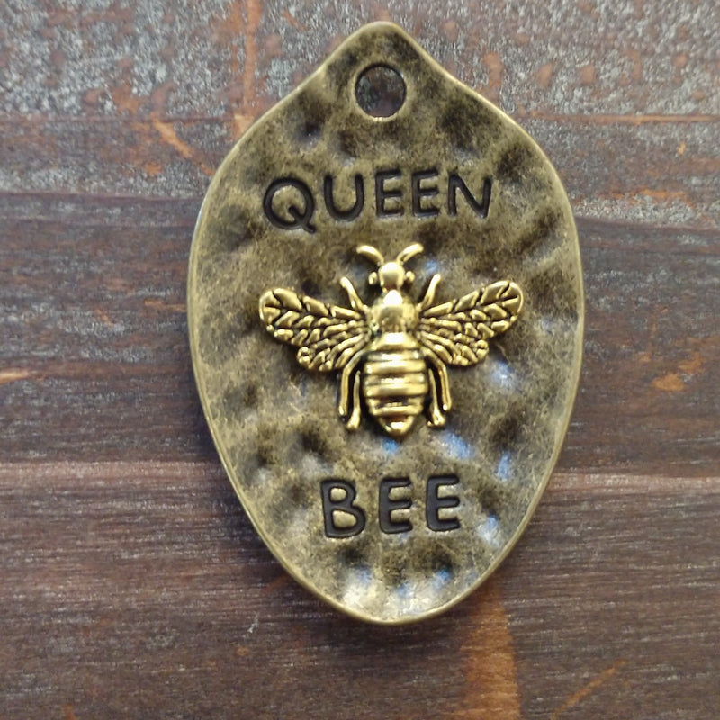 CL-23582 - Antique Brass Queen Bee Pendant With Gold Bee, 28x42mm | Pkg 1