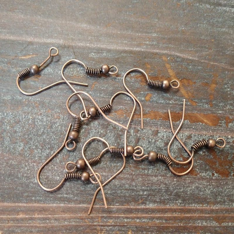 CL-9107 - Antique Copper Plated Earwires With Bead And Coil, 18mm | Pkg 10 Pc