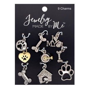 J22190102 - Silver Plated  Dog Charms | Pkg 9