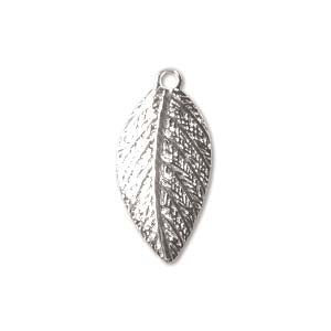 LF02SP - Silver Plated Leaf Charm/Pendant, 15mm | Pkg 6