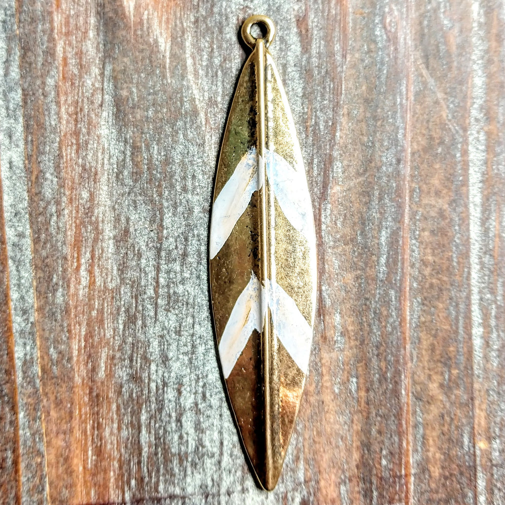 AB-3247 - Gold Pendant, Feather With White Stripes, 15x66mm | Pkg 1