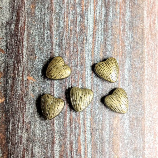 AB-3259 - Brass Beads,Brushed Heart,8mm | Pkg 5