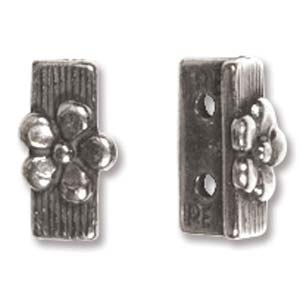 PAS6257 - Antique Silver 2 Hole Spacer Bar, 10mm | Pkg 1