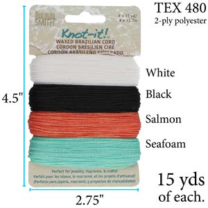 PLY04-MIX04 - Knot It Waxed Polyester Cord, Ocean Dreams | Pkg 15 Yards Each
