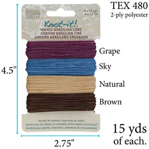 PLY04-MIX07 - Knot It Waxed Polyester Cord, Adventures Calling | 15 Yards Each Color