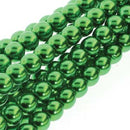 PRL06-70054 - 6mm Round Glass Pearls Xmas Green -75Bd/St | 1 Strand