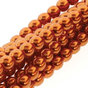 PRL06-70085 - 6mm Round Glass Pearls Burnt Orange -75Bd/St | 1 Strand