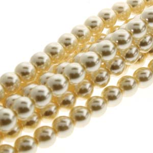 PRL06-70440 - 6mm Round Glass Pearls Cream-75Bd/St | 1 Strand