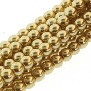PRL04-70486 - 4mm Round Glass Pearls Gold-120Bd/St | 1 Strand