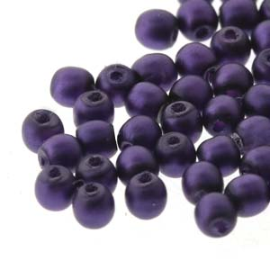 PRL02-70038M - 2mm Round Glass Pearls Matte Purple-150 Beads/Strand | 1 Strand