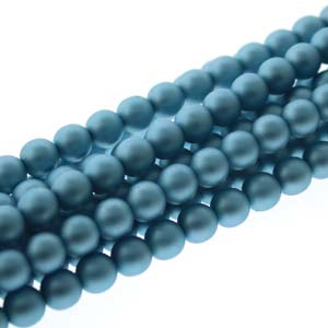 PRL04-70437M - 4mm Round Glass Pearls Matt Cerulean-120Bd/St | 1 Strand