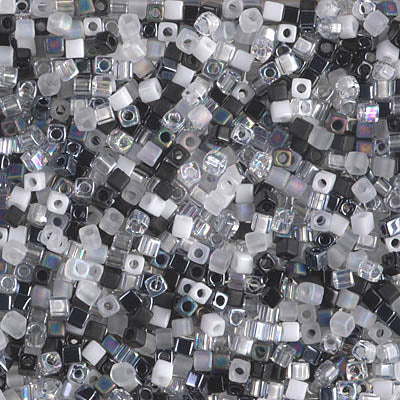 SB18-MIX-01 - Miyuki 1.8mm Square Seed Beads Mix, Salt and Pepper | 25 Grams