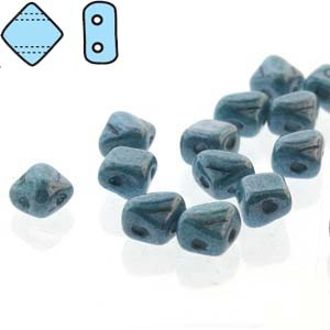 SQ205-02010-14464 - 2 Hole Silky 5mm Blue Luster, 40 Beads | 1 Strand