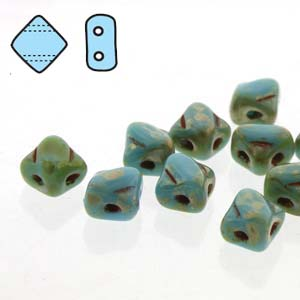 SQ205-63030-43400 - 2 Hole Silky 5mm Blue Turq Pic, 40 Beads | 1 Strand