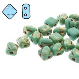 SQ205-63130-43400 - 2 Hole Silky 5mm Green Turq Pic, 40 Beads | 1 Strand