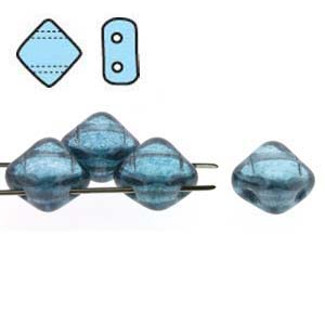 SQ206-20210-14464 - 2 Hole Silky 6mm Alex Blue Lstr,40 Beads| 1 Strand