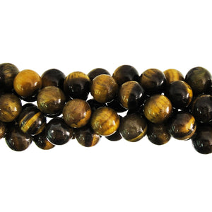 "GM-0159 - Tiger Eye 6mm Round Gemstone Bead Strand | 16"" Str"