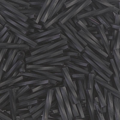 TW2012-401F - Miyuki 2x12mm Twisted Bugle Bead Matte Black | 50 Grams