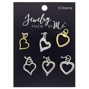 WP1581381 - Silver And Gold Plated Open Heart Charms | Pkg 6