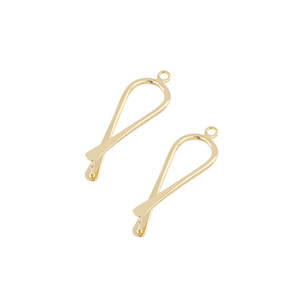 AB001GP - Pinchable Fold Over Earring Component, 33.5mm, Gold Plated | Pkg 1 Pair