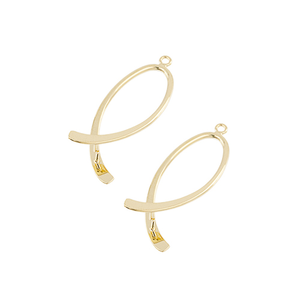 AB003GP - 38mm Gold Plated Swirled Add A Bead Earring Finding | Pkg 1 Pair