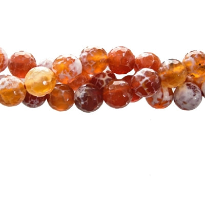 "GM-0013 - Faceted Agate Gemstone Bead Strand, Antique Carnelian, 10mm | 16"" Str"