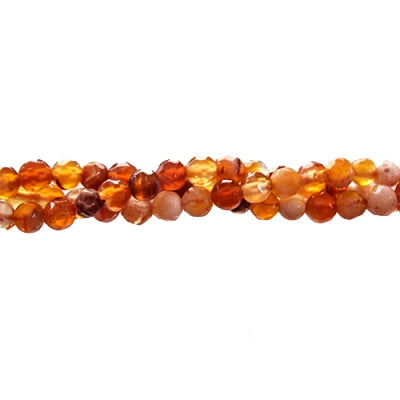 "GM-0010 - Faceted Agate Gemstone Bead Strand,Antique Carnelian,4mm | 16"" Str"