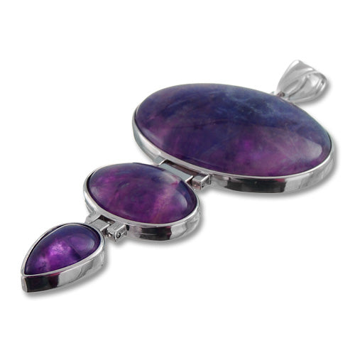 GM-0046 -Amethyst Triple Gemstone Pendant With Rhodium Setting | 1 Piece