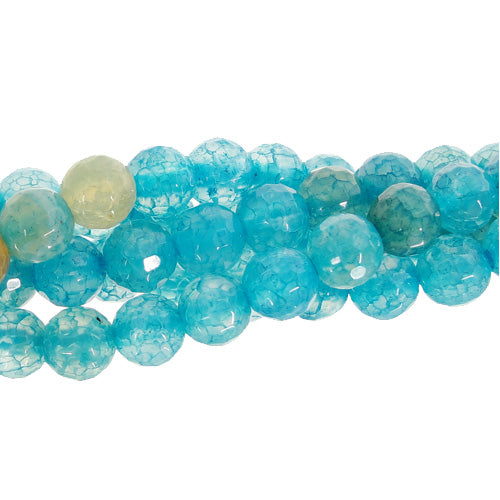 "GM-0096 - 6mm Antique Blue Agate Faceted Round Bead Strand | 16"" Str"