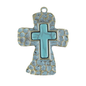 AB-0115  - Antique Brass Cross Pendant With Patina And Resin Center  | Pkg 1
