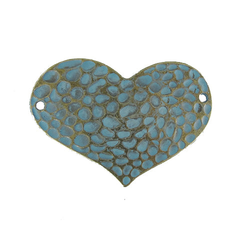 AB-0114 - Antique Brass Hammered Heart Jewelry Connector With Patina | Pkg 2