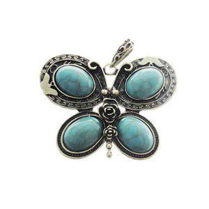 AB-0109 - Antique Brass Pewter Butterfly Pendant With Howlite Stones,1 Pc