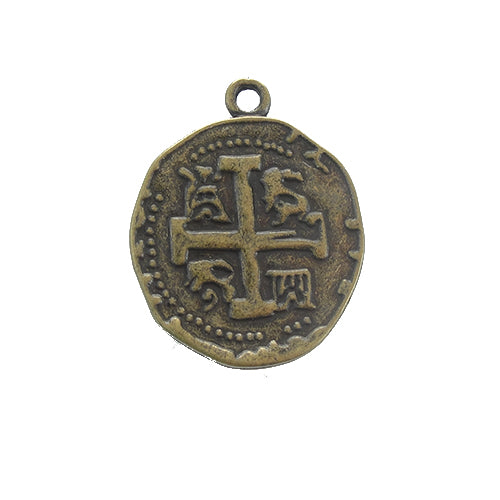 AB-0143 - Antique Brass Pewter Coin With Cross Pendant, 25mm | Pkg 5