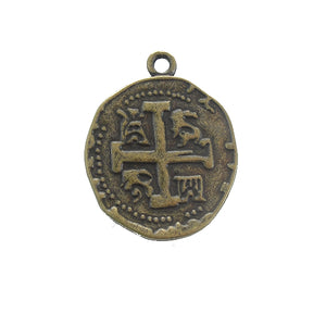 AB-0143 - Antique Brass Pewter Coin With Cross Pendant,25mm | Pkg 5