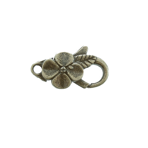 AB-0095  - Antique Brass Pewter Flower Lobster Clasp,12x25mm | Pkg 2