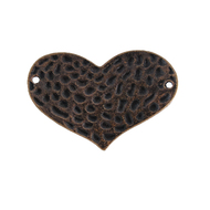 AB-0060 - Antique Copper Pewter Hammered Heart Connector | Pkg 2