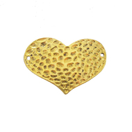 AB-0058 - Antique Gold Pewter Hammered Heart Jewelry Connector | Pkg 2