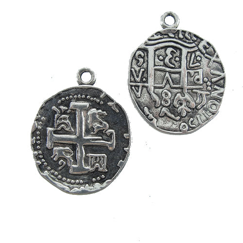 AB-0140 - Antique Silver 25mm Coin Pendant With Cross | Pkg 5
