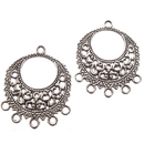 AB-5908 - Antique Silver Fancy Chandelier Earring Findings, 25mm | Pkg 4