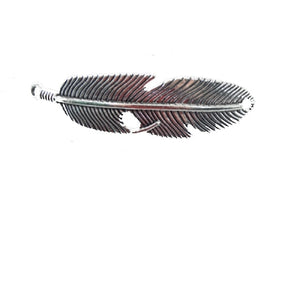 AB-0064 - Antique Silver Pewter Feather Jewelry Connector,14x55mm | Pkg 2