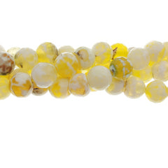 "GM-0106 - 8mm Antique Yellow Agate Faceted Round Gemstone Bead Strand | 16"" Str"