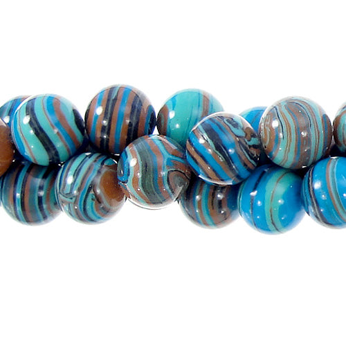 GM-0028 -8mm Blue/Brown Synthetic Calsilica Gemstone Bead Strand | 1 Strand