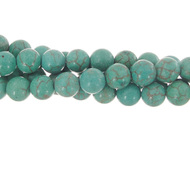 "GM-0102 - 6mm Turquoise Blue Howlite Round Gemstone Bead Strand | 16"" Str"