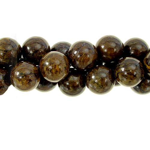 "GM-0129 - 8mm Bronzite Round Bead Strand | 16"" Str"