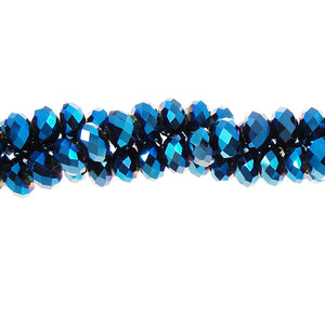 CC4X6-011 - Chinese Crystal Rondelle Strand, Deep Metallic Blue, 4x6mm | 1 Strand